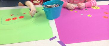 free art wih the preschoolers with crayons and stickers